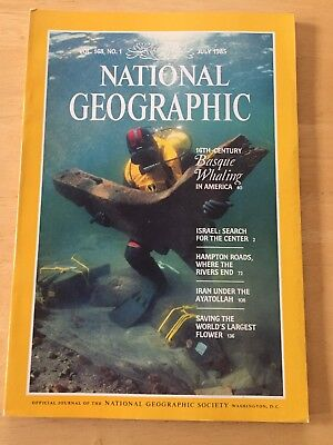 National Geographic Magazine July 1985; 16th-Century Basque Whaling, VOL. 168