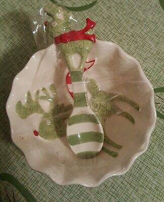 Mud Pie  Christmas Reindeer Holiday Dip/Spoon Set