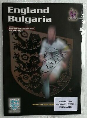 1998 ENGLAND vs BULGARIA SIGNED WEMBLEY PROGRAMME BY MICHAEL OWEN ON COVER