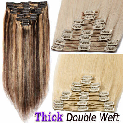 Clip In Real Human Hair Extensions Remy Extra Thick Double Weft Full Head D420