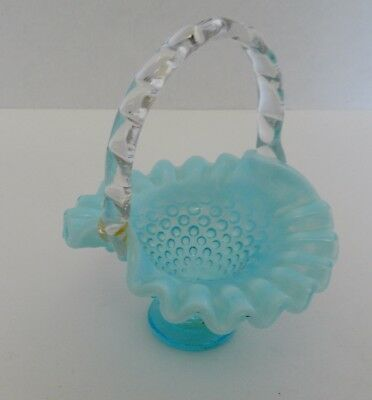Fenton Art Glass Blue Hobnail Opalescent Low Footed Basket Ruffled Edge Repaired