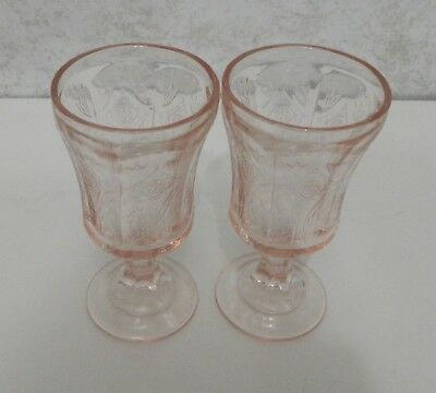 Madrid  Recollection Pattern Two Pink Vintage Footed Goblets Indiana Glass