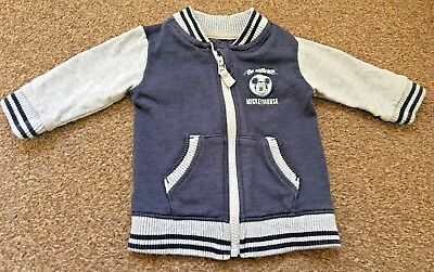 Disney Baby At George Boys Mickey Mouse Blue Grey Zip Up Jacket 3-6 Months B66
