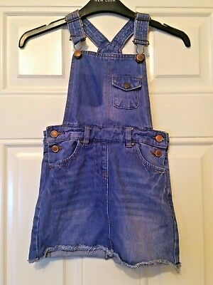 Girls Blue Denim Dungaree Dress Age 6-7 Years Asda George Summer Holiday B17
