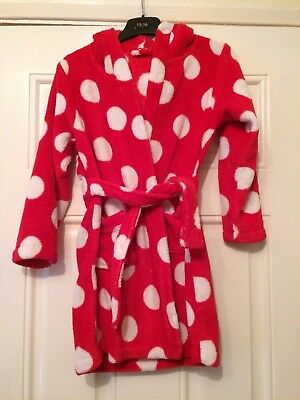 Girls Disney Minnie Mouse Dressing Gown Hooded Bath Robe Red Spotty Age 6-7 B8