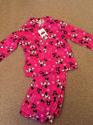 Disney Minnie Mouse Flannel PJS Pink Girls Top & Trousers Age 5-6 Years New B17