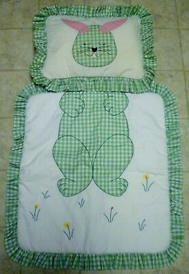 Homemade Bunny Rabbit Baby Quilt and Pillow