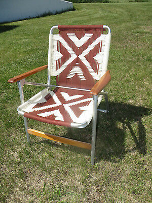 Vintage Aluminum Brown & Tan Lawn Chair - Macrame - Hand Woven w/Wood Arms