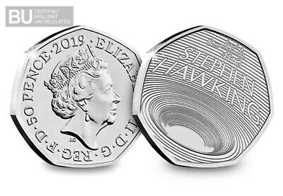 2019 Stephen Hawking 50P Fifty Pence Uk Certified Bu