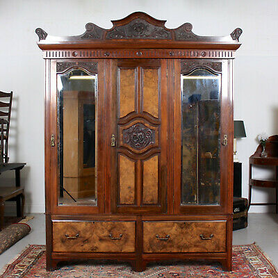 Antique Victorian Wardrobe Triple Mirrored Carved Walnut Mahogany 19th Century
