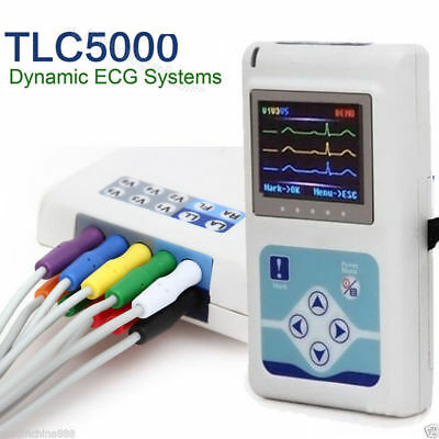 12Channel CardioScape Holter Monitor ECG/EKG 14Hr Recording LCD Display 2018 CE