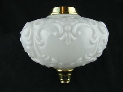 Large Victorian Moulded White Glass Oil Lamp Font, Art Nouveau Decoration