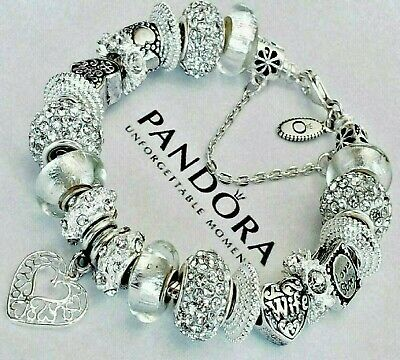 "Pandora Sterling Silver Bracelet ""A LOVE STORY"" with MOM Wife European Charms!"