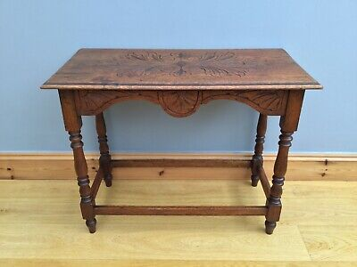 Antique Hall Side Table Oak Victorian Arts & Crafts Old Carved County Style
