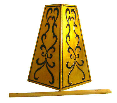 Table Lamp Part Wood Tall Solid Gold Gilt Finish w Black Scrolls DYI Made USA