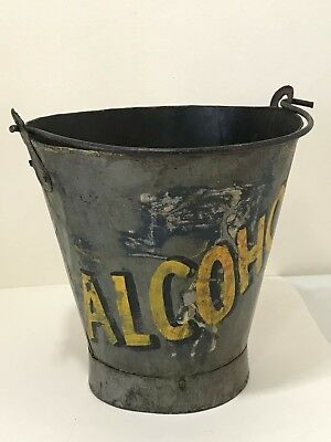 Antique Primitive Folk Art Painted Alcohol Metal Pail Ice Bucket 2 Sided Country