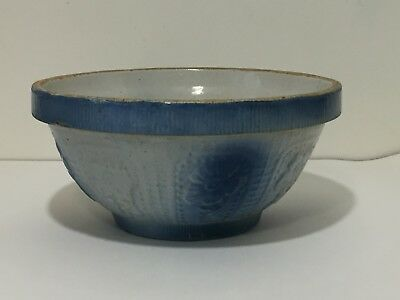 Antique Vintage Blue White Stoneware Bowl Fruit Flower Pansy Cosmos 10 x 5