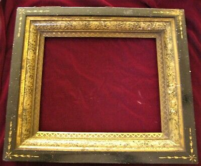 Aesthetic Movement Antique Picture Frame Ebonized, faux finishes, spoon carved