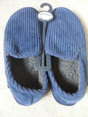 EX FAT FACE NAVY SUEDE & CORD MIX FAUX FUR LINED MOCCASIN SLIPPERS SIZE 7  Eu 41