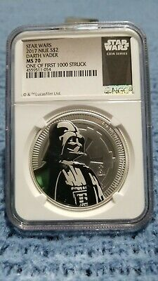 2017 Niue 1 oz Silver Star Wars Darth Vader $2 NGC MS70 1 of First 1,000