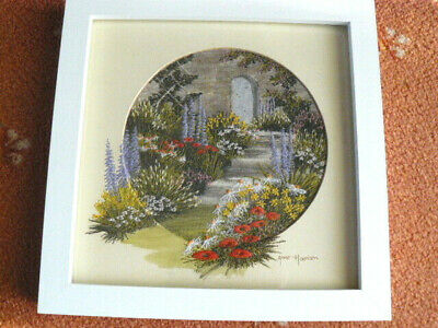 Hand Painted Embroidered Landscape Art Anne Harrison Country Garden Scene
