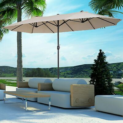 Outsunny 15ft Double-Sided Patio Umbrella Parasol Sun Shelter Canopy Shade