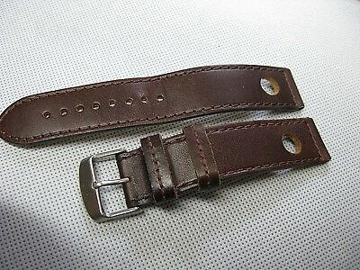 Italian genuine custom watch band leather punched hole vintage racing