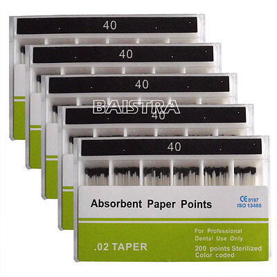 5 X Dental Lab Root Canal Cleaning Absorbent Paper Points PP02 40# 200pc/Box