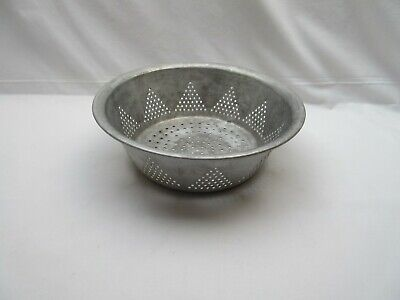 Vintage old metal aluminium kitchen straining strainer bowl
