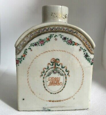 Chinese Export Porcelain Tea Caddy. 18th Century. Monogrammed
