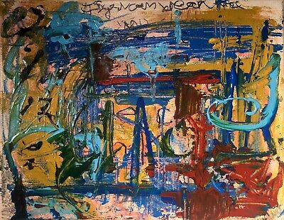 """Informel Abstraction Expressionist Painting LW Jeffrey  """"Wave Chamber"""" 11 X 14"""