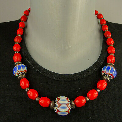 W-Afrika Handelsperlen Chevrons Silber Red Trade Beads Chevrons Silver