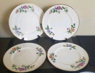 4 CAULDON ENGLAND LARGE DINNER PLATES FLORAL GOLD TRIM v2110