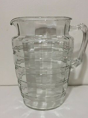 """8"""" Retro Vintage Clear Glass Striped Beverage Pitcher Ribbed"""