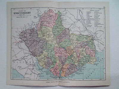 "KIRKCUDBRIGHT COUNTY SCOTLAND ANTIQUE BARTHOLOMEWS MAP 1898 7""x9""  PHILIPS ATLAS"