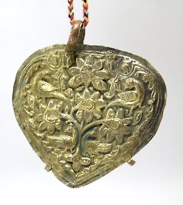 Old Antique Tribal Jewelry Embossed Peacock Hand Crafted Collectible. G18-26 US