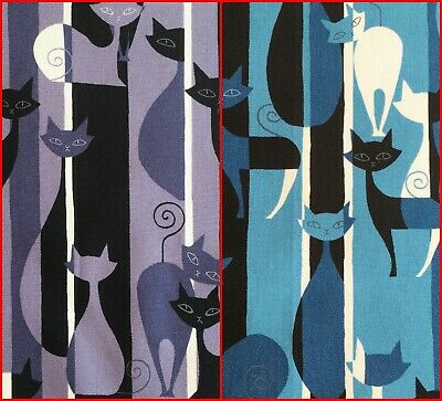 Cat fabric, retro 30s 50s 60s art deco style, grey or blue, vintage style cats