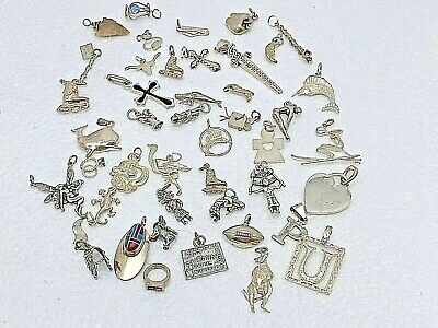 Various Sterling Silver .925 Charms ~ Sports Animals Hearts Crosses Vintage ++2
