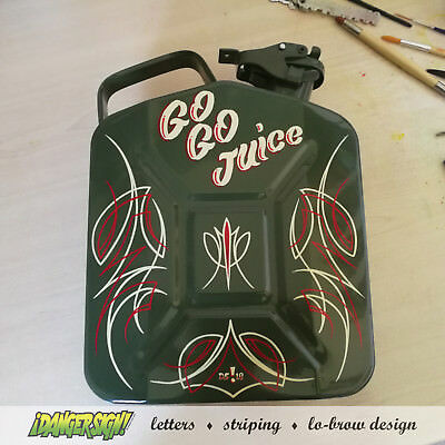 GO GO JUICE lettered & pinstriped jerry can by ¡DANGER SIGN! pinstripe hotrod