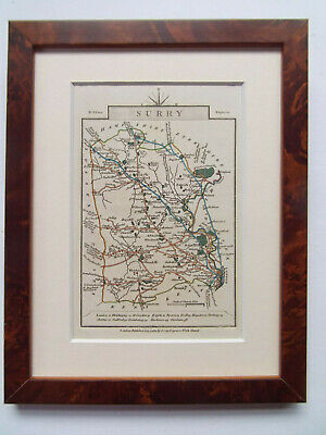 """SURREY ANTIQUE MAP BY J CARY DATED 1822 ORIGINAL COLOUR NEW MAPLE FRAME 7""""x9"""""""