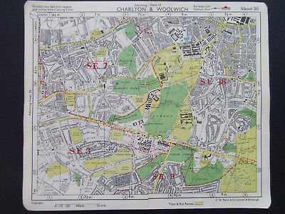 LONDON CHARLTON WOOLWICH SHOOTERS HILL  VINTAGE BACONS 1949 STREET MAP 18x22CM