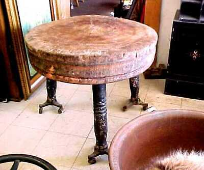 ANTIQUE Primitive Round Wooden Butcher Block w/ Turned Legs 19th Century