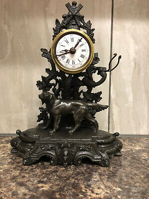 Antique Clock ,Spelter Figural victorian timepiece with an alarm mantle