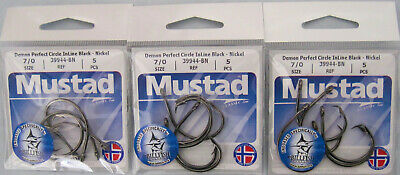 Mustad 39944-BN 6//0 Perfect Circle Inline Tournament Approved Fishing Hooks Qty5