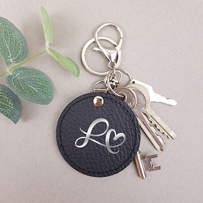 Alphabet Keyring Personalised Initial Genuine Leather Handmade Elegant Keychain
