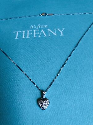 5b7e3d031d7b0 100% AUTHENTIC TIFFANY & Co platinum puff heart diamond pendant  Necklace-Rare