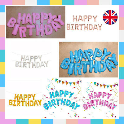 Large Happy Birthday Balloons Banner Bunting Self Inflating Letters Foil Balloon