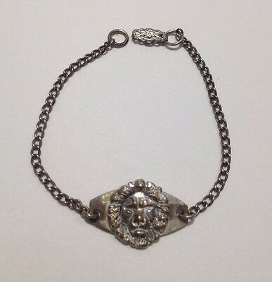 Antique Bracelet with Lions Head Applique, Marked Sterling BMCO,  early 1900's