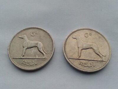 Eire 6-D SIXPENCE 1961 & 1967 Reul/Woolfhound