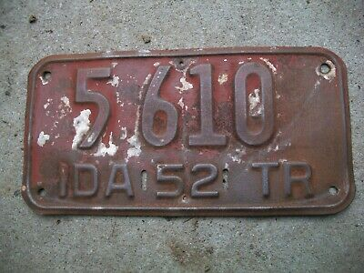 Antique Vintage Super RARE Nice Dated 1952 Idaho Trailer License Plate